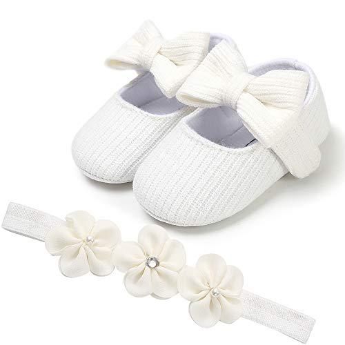 Babyschuhe, Baby Mädchen Prinzessin Schuhe Stirnbänder Geschenkset   Anti-Rutsch&Weiche Sohle   Säugling Pailletten Bowknot Blumen Krippe Schuhe Lauflernschuhe Hausschuhe Taufe Hochzeit Schuhe