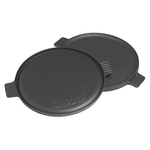 Barbecook Grillplatte mit flacher und gerippt Grill-Seite Gusseisen Grillzubehör rund Ø 35-cm Universal für Holzkohlegrill