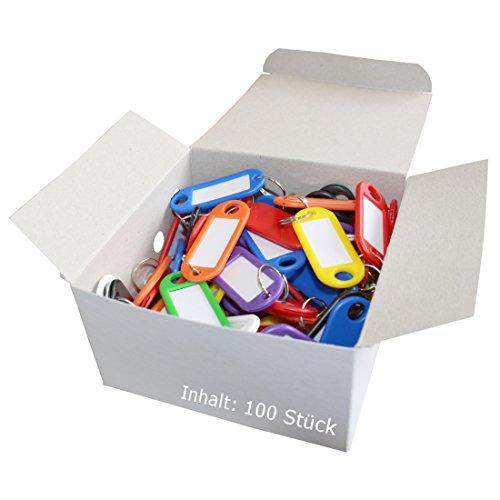 Wedo 262801899 Schlüsselanhänger Kunststoff (mit Ring, auswechselbare Etiketten) 100 Stück, farbig sortiert