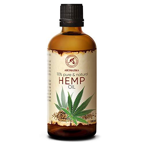 Hanföl 100ml - Cannabis Sativa Seed Oil - Kaltgepresst - 100% Reines & Natürlich - Glasflasche - Hanf Öl - Basisöl - Hanfsamenöl - Intensive Pflege für Gesicht - Haare - Körperpflege