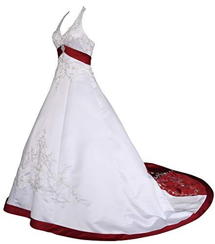 Romantic-Fashion Brautkleid Hochzeitskleid Weiß/Bordeaux Modell W085 A-Linie Satin Stickerei Zweifarbig DE Größe 50
