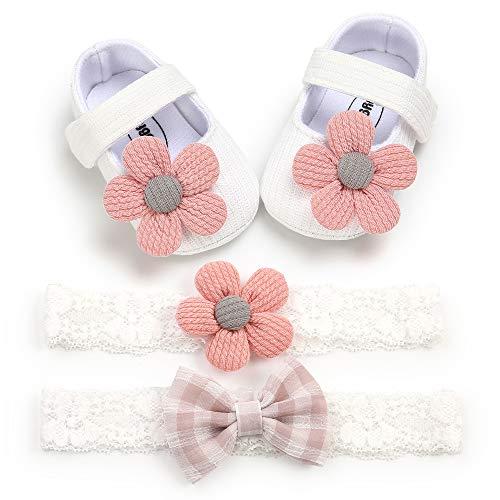 Carolilly Neugeborenes Mädchen Baby Schuhe Sommer weichen Boden Baumwolle Kinder Blume Prinzessin Schuhe Hochzeit Party Schuhe + Haarband 3pcs Set (weiß, 6_Months)