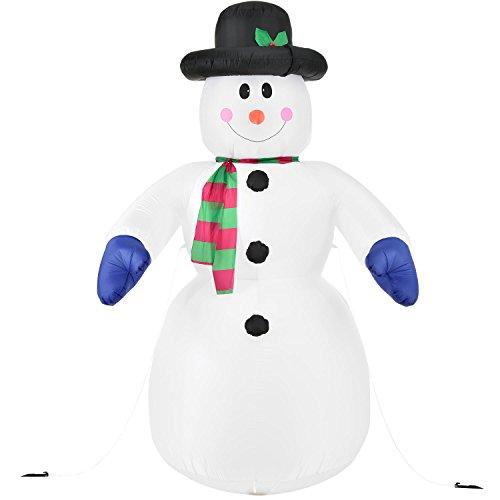 Juskys XXL Schneemann 240 cm aufblasbar mit integr. Gebläse & 20 LEDs, Weihnachtsdeko beleuchtet IP44, Winterdeko für Außen mit 6 Heringe & 3 Seile