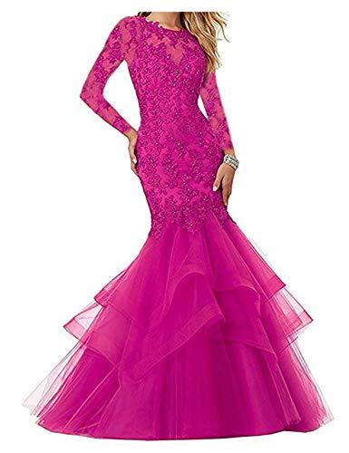 Stillluxury Appliques Perlen Meerjungfrau Abschlussball Abendkleider Hochzeit Frauen Plus formelles Kleid P111 Gr. 40, Fuchsia mit Ärmeln