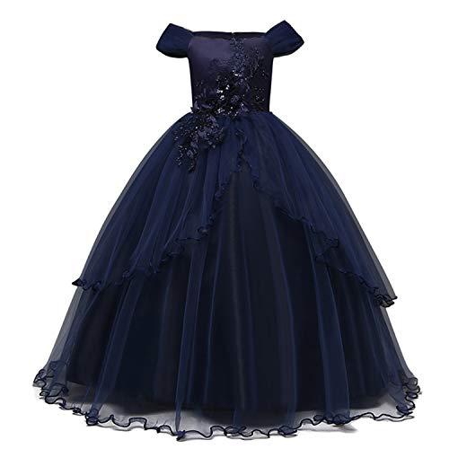 TTYAOVO Mädchen Festzug Ballkleider Kinder Chiffon Bestickt Hochzeit Kleid, Blau Lila, 11-12 Jahre/ Etikettengröße- 160