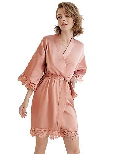 SIORO Damen Satin Robe Spitze Seide Kimono Robe Kurz für Brautjungfer Hochzeit Party Nachthemd,modern/enganliegend,S Rose Pink