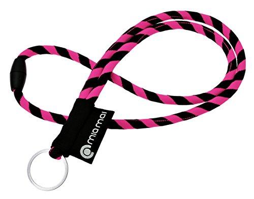 mia Mai Tubular Lanyard (Pink/Schwarz, 45 cm), Schlüsselband mit Sicherheitsverschluss, Schlüsselring Schlüsselanhänger