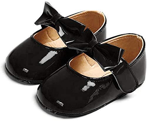 Ortego Baby Mädchen Prinzessin Bowknot Schuhe Kleinkind Anti-Rutsch Party Ballerinas Schuhe Schwarz 0-6 Monate