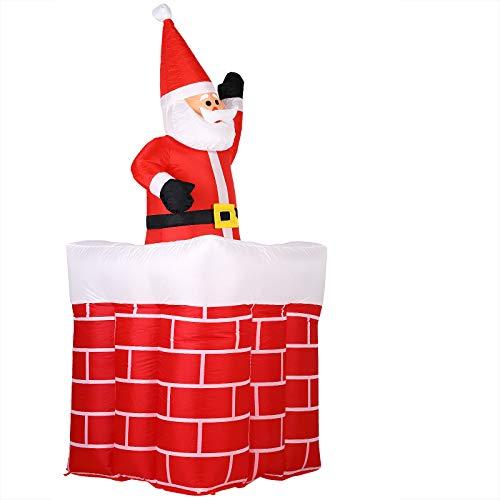Monzana Aufblasbarer Weihnachtsmann 178cm groß LED Beleuchtet springt-aus-dem-Schornstein Santa Weihnachten Deko Figur