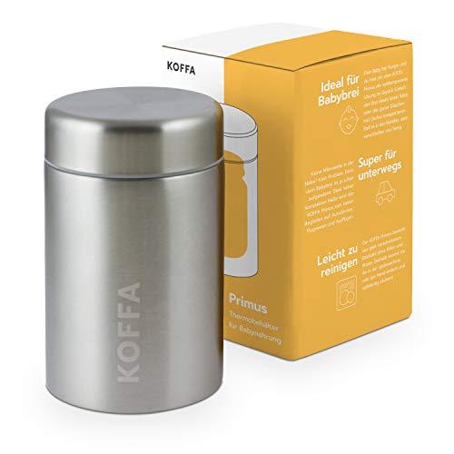 KOFFA® Primus - Auslaufsicherer Thermobecher zur Babybrei Aufbewahrung / 500ml großer Edelstahl Thermobehälter & BPA-freie Warmhaltebox für unterwegs zum Transport von kompletten Baby Gläschen