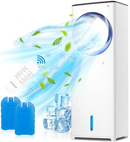 QUARED 4 in 1 mobile Klimagerät Klimaanlage Luftkühler Luftbefeuchter Ventilator, 3,5 l Wassertank, Geringer Energieverbrauch, 3 Geschwindigkeiten, 1/2/4/8Timer für Zuhause