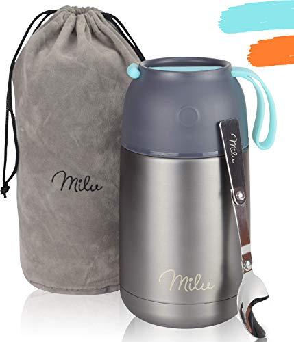 Milu® Thermobehälter Lunchbox 450, 650ml   Edelstahl Isolierbehälter Gefäß für warme Speißen, Essen, Babynahrung, Suppe, Obst   Behälter für Baby   Speisegefäß   Thermogefäß (Grau/Blau, 650ml)