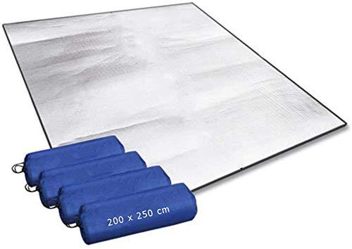 Aehma Alu Isomatte Schaummatten Schlafmatte für Camping 200x250 cm Isoliermatte Isolierdecke Faltbare Zeltmatte Bodenmatte Thermomatte Matte aus Aluminiumfolie, Ultraleicht (Silber, 200 x 250 cm)