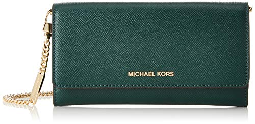 Michael Kors Damen Large Two-tone Leather Convertible Chain Wallet Geldbörse, Mehrfarbig (Rcng Grn Mlt), 3.8x10.1x19.7 cm