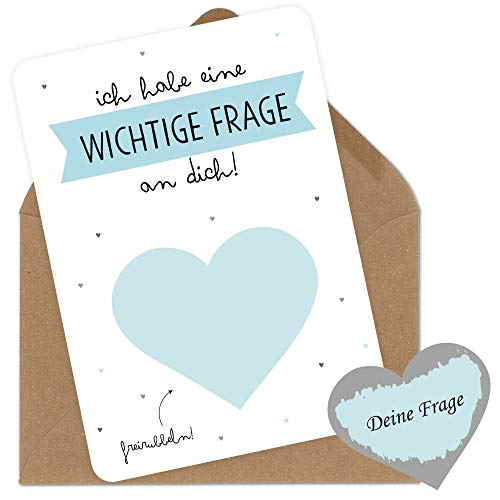 Rubbelkarte blanko in Blau zum selber personalisieren für wichtige Frage wie Trauzeuge Trauzeugin Patentante Patenonkel mit Umschlag