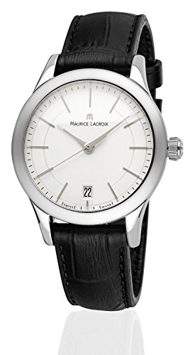 Maurice Lacroix Damen-Armbanduhr Les Classiques Date Analog Quarz mit Lederband schwarz Zifferblatt Weiss-Silber LC1026-SS001-131-1 Swiss Made geeignet für Gravur Widmung Graveur