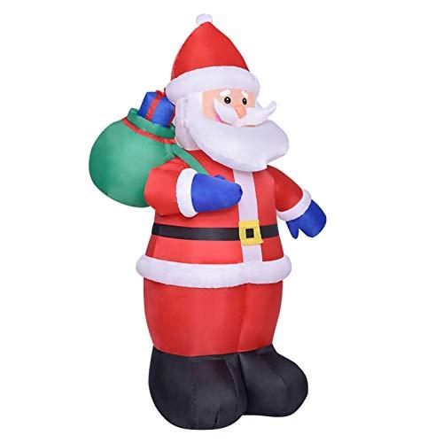 Aufblasbarer Weihnachtsmann 240cm LED Beleuchtet Befestigungsmaterial Weihnachtsdeko Santa Außen Deko Figur