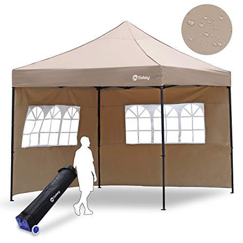 Sekey 3x3m Faltpavillon 100% Wasserdicht für Garten, mit 2 Seitenteilen, Taupe