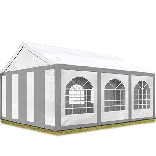 TOOLPORT Hochwertiges Partyzelt 3x6 m Pavillon Zelt 240g/m² PE Plane Gartenzelt Festzelt Bierzelt Wasserdicht grau-weiß