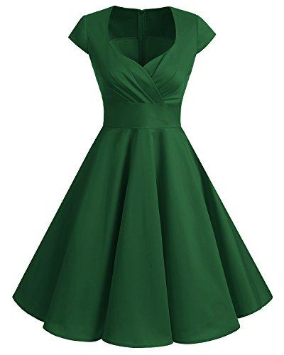 bbonlinedress 1950er Vintage Retro Cocktailkleid Rockabilly V-Ausschnitt Faltenrock Green S