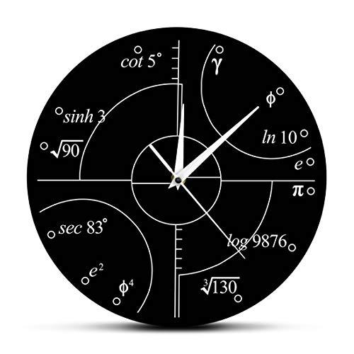 PLEASUR Metall-Math-Uhr, Einzigartiges ZeitgemäßEs Modernes Design Neuheit Mathe Gleichung Uhr Mathematik Lehrer Geschenk FüR Klassenzimmer Home Office Schwarz, Black
