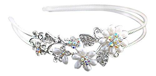 Strass Perlen Blumen Haarreif Hochzeit Braut Blumenmädchen Haar Reifen Silber