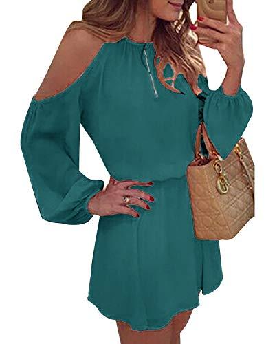 YOINS Sommerkleid Damen Kurz Schulterfrei Kleid Elegante Kleider für Damen Strandmode Langarm Neckholder A Linie See blau S