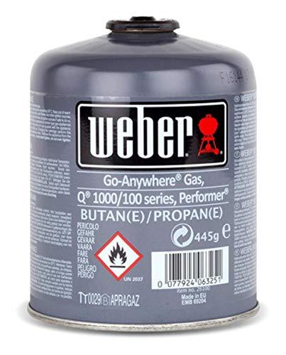 Weber Gaskartusche 445g, Q 100/1000-Serie, Performer Deluxe, Go-Anywhere und Summit® Charcoal, 17846