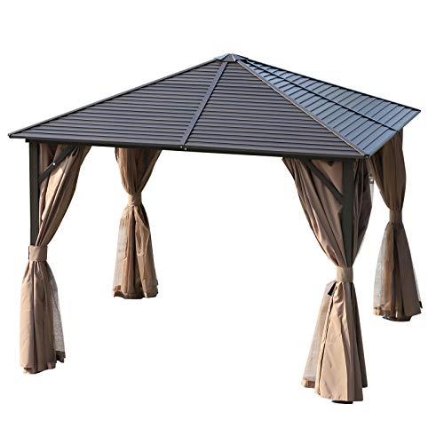 Outsunny Gartenpavillon Partyzelt Faltpavillon Festzelt 4 x Doppel-Seitenteilw wasserdicht Laternenhaken Alu + Polyester Braun ca. 3 x 3 x 2,5 m