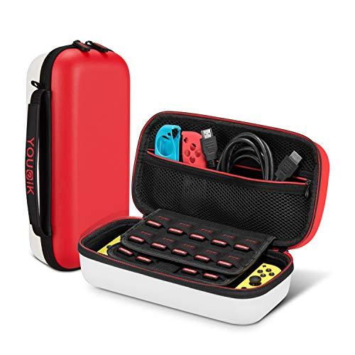 Tasche für Nintendo Switch - Younik Verbesserte Version Harte Reise Hülle Case mit Größerem Speicherplatz für 19 Spiele und Anderes Nintendo Switch Zubehör - Rot & Weiß