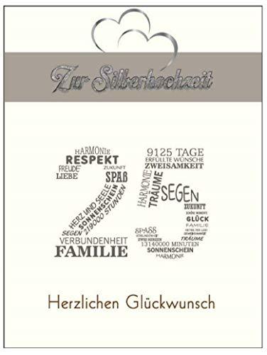 Elegante A5 Glückwunschkarte Hochzeit 25 Jahre Silberhochzeit silver wedding Glückwünsche Silber hochzeit 25