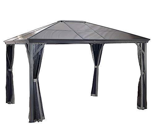Sojag Aluminium Pavillon Überdachung Gazebo Verona 10x14 mit Doppelstegplatten inkl. Moskitonetz // 298x423 cm (BxT) // Gartenlaube mit Doppelstegdach