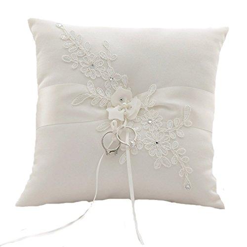 Unbekannt Ringkissen Ivory Blume Hochzeitsaccessoires Kissen für Eheringe Ringe Hochzeit Accessoires