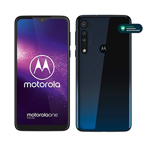 motorola one macro Dual-SIM Smartphone (6,2-Zoll-Max Vision-HD+-Display, Macro-Vision-Kamera, 64 GB/4 GB, Android 9) Dunkelblau inkl. Schutzcover
