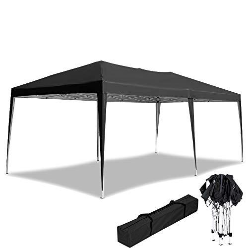 UISEBRT 3x6m Pavillon Faltbar Partyzelt Wasserdicht - Faltpavillon Gartenzelt UV-Schutz - für Garten,Party,Hochzeit,Picknick, Anthrazit