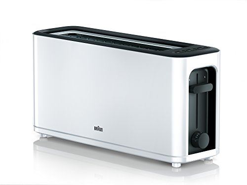Braun HT 3110 WH Toaster   Langschlitz   Extrabreite Toastkammer   Herausnehmbare Krümelschublade   Aufwärm- und Auftaufunktion   7 Röstgrade   Separater Brötchenaufsatz   Weiß