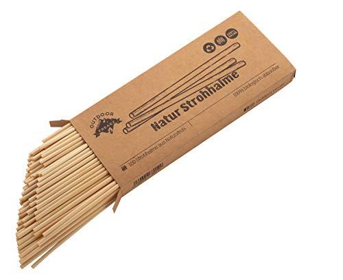 OUTDOOR FREAKZ Natur Strohhalme aus Stroh - Die Alternative zu Papier, Metall oder Bambus - Umweltfreundlich - Nachhaltige Trinkhalme aus Stroh (100)