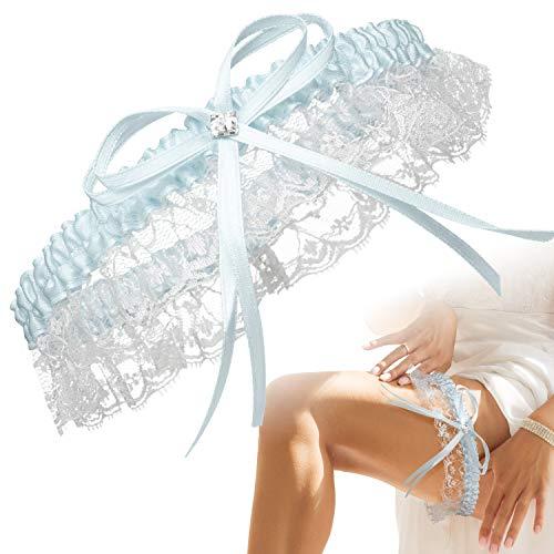 BrautStyle® Premium Braut Strumpfband in Blau für Hochzeit in Einheitsgröße, Band verziert mit Spitze, Schleife und einem edlen Herz aus filigranen Strass-Steinen, 100% Handgefertigt (Hellblau)