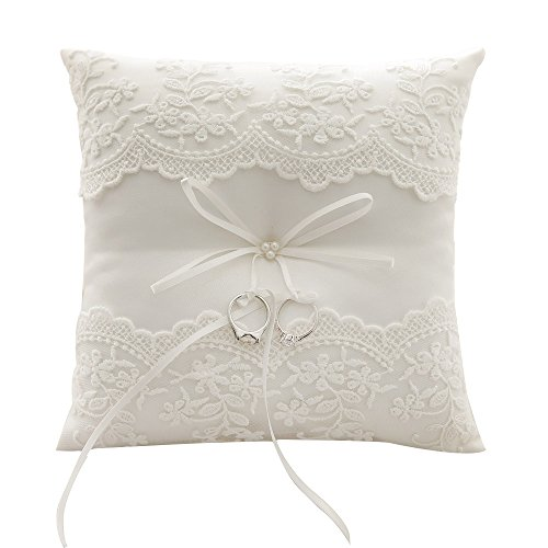 Awtlife Lace Wedding Ring Pillow Ivory Pearl Cushion Bearer 21cm