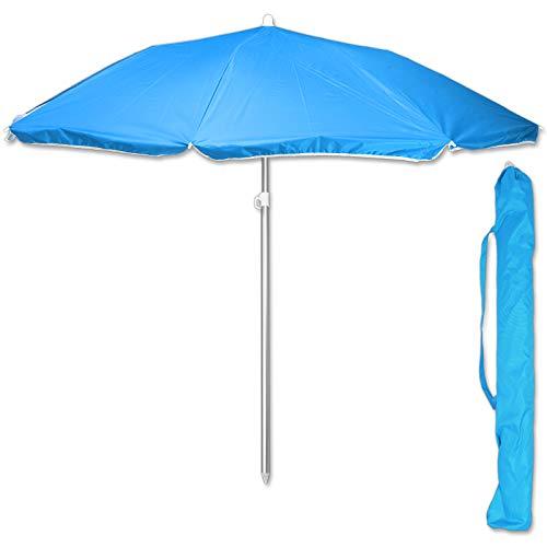TW24 Sonnenschirm 175 cm mit Farbwahl Strandschirm UV 50+ Sonnenschutz Gartenschirm verstellbar Schirm (Blau)
