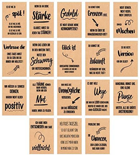 Edition Seidel Set 18 Postkarten Leben & Momente mit schönen Sprüchen gedruckt auf hochwertigem Kraftpapier - Karten mit Spruch - Liebe, Freundschaft, Leben, Motivation, Geburtstagskarten