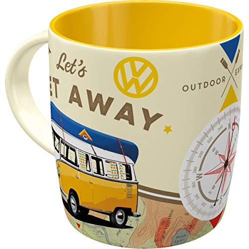 Nostalgic-Art - Volkswagen Retro Kaffee-Becher - VW Bulli T1 - Let's Get Away, Große Lizenz-Tasse als Vintage VW Bus Geschenk-Idee, 330 ml