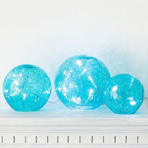 3er Set LED Glaskugeln türkis batteriebetrieben