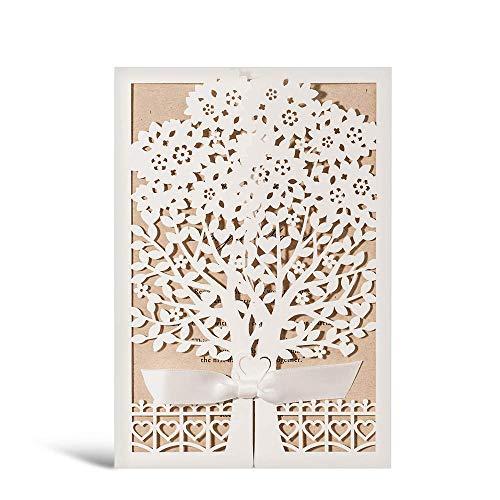 WISHMADE 20x Hochzeit EinladungsKarten mit Laser Schnitt Blumen Baum Silk Bindung Für Verlobung, Babyparty, Jahrestag, Geburtstag Party, 20 Stück (weiß)