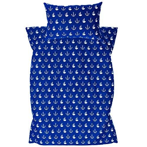 Amilian® Baby Bettwäsche Design: Anker GROß blau Größe 100x135 cm (40x60 cm) Bettset Kinderbettwäsche