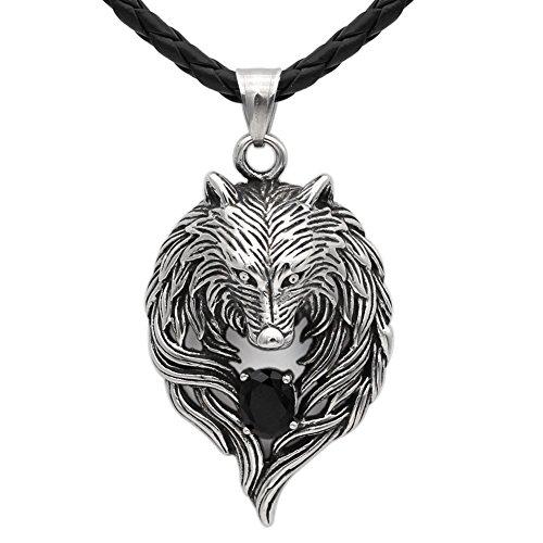 Detaillierte Antik Tribal Biker Herren Anhänger Wolf head Halskette mit Dazzling schwarz Onyx Zirkonia - Edelstahl - -leather