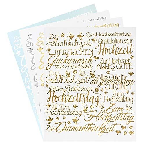 Ideen mit Herz Sticker Handlettering Art   Aufkleber   Verschiedene Schriftzüge zur Hochzeit, Liebe, Trauer, Weihnachten, Ostern UVM.   Jeweils 4 Bogen à 20 x 23 cm (Hochzeit)
