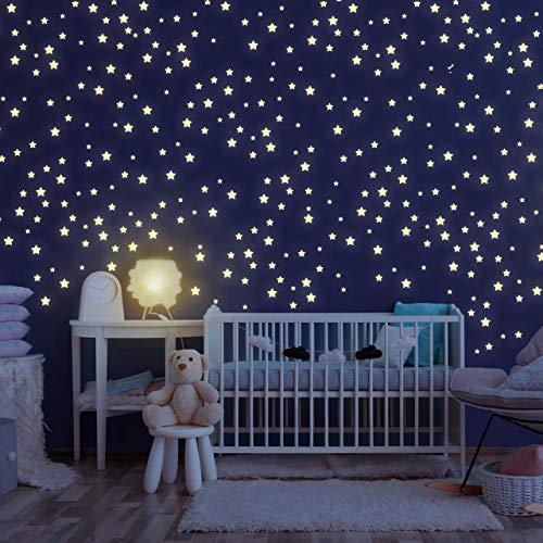 Homery Sternenhimmel 300 Leuchtsterne selbstklebend mit starker Leuchtkraft, fluoreszierende Leuchtsterne Wandtattoo & Wanddeko Aufkleber für Baby, Kinder oder Schlafzimmer (Leuchtsterne)