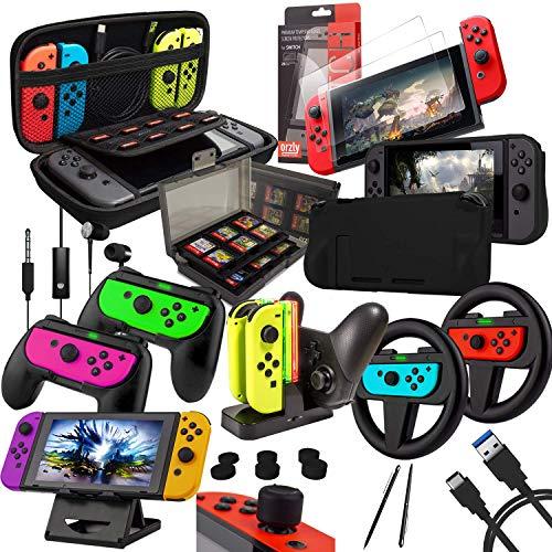 Orzly Zubehörpaket-Switch - Geek Pack für Nintendo Switch: Tragetasche & Displayschutzfolie, Joycon Grips & Lenkrad, JoyCon/Pro-Controller-Ladestation, Comfort Grip Tasche & More - JetBlack