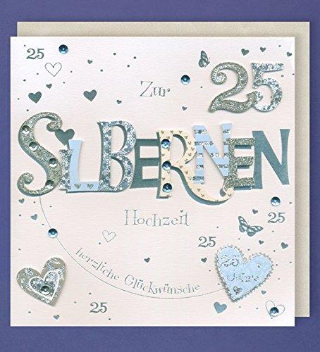 Silberhochzeit Grußkarte 25 Handmade Applikation Zwei Silber Herzen 21x21cm Plus 3 Sticker